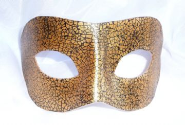 Genuine Handmade Unique  Leather Mask  Black & Gold Crackle Mask